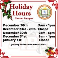 2019 Xmas Holiday Hours